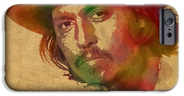 Johnny iPhone Cases - Johnny Depp Watercolor Portrait on Worn Distressed Canvas iPhone Case by Design Turnpike