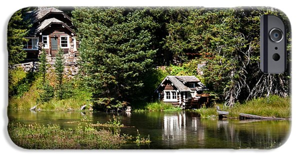 River Flooding iPhone Cases - Johnny Sack Cabin iPhone Case by Robert Bales