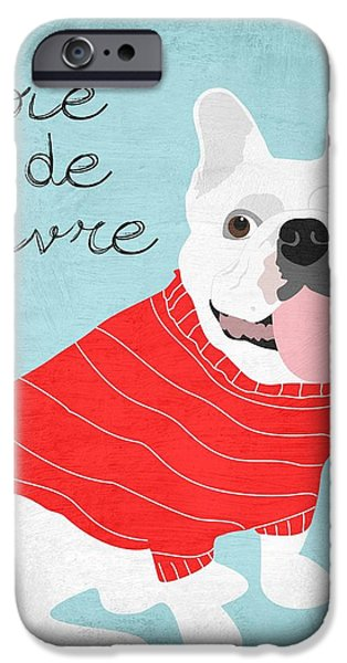 Living With Joy iPhone Cases - Joie de Vivre French Bulldog  iPhone Case by Ginger Oliphant