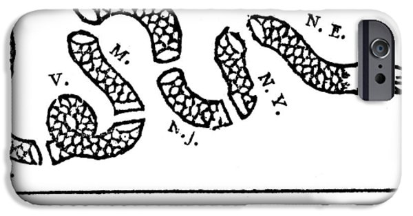 Snake Drawings iPhone Cases - Join or Die iPhone Case by Anonymous