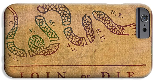 Franklin iPhone Cases - Join Or Die Benjamin Franklin Political Cartoon Pennsylvania Gazette Commentary 1754 on Parchment  iPhone Case by Design Turnpike