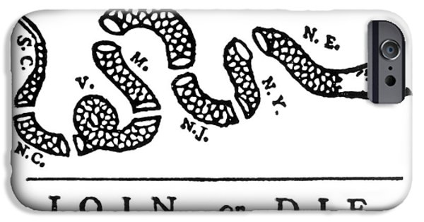 Franklin iPhone Cases - Join Or Die Cartoon, 1754 iPhone Case by Granger
