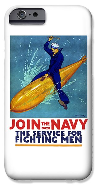 Wwi iPhone Cases - Join The Navy The Service For Fighting Men  iPhone Case by War Is Hell Store