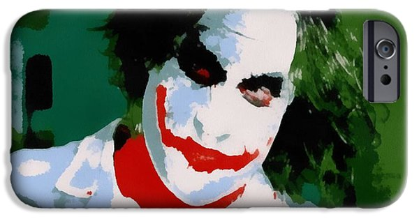Ledger; Book iPhone Cases - Joker Pop Art iPhone Case by Dan Sproul