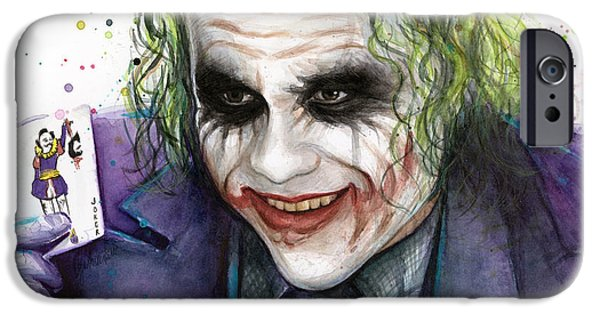 Watercolor Mixed Media iPhone Cases - Joker Watercolor Portrait iPhone Case by Olga Shvartsur