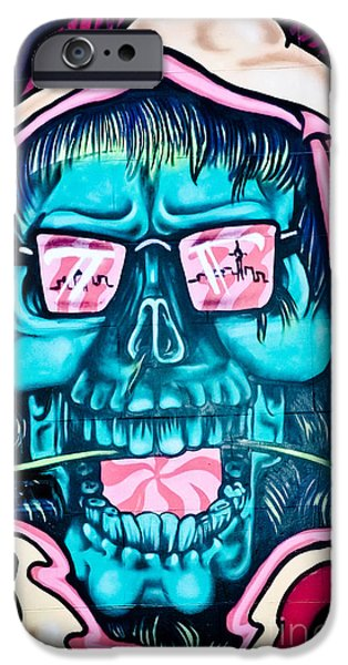 Lips iPhone Cases - Jolly hallucinogenic Skull Graffiti iPhone Case by Yurix Sardinelly