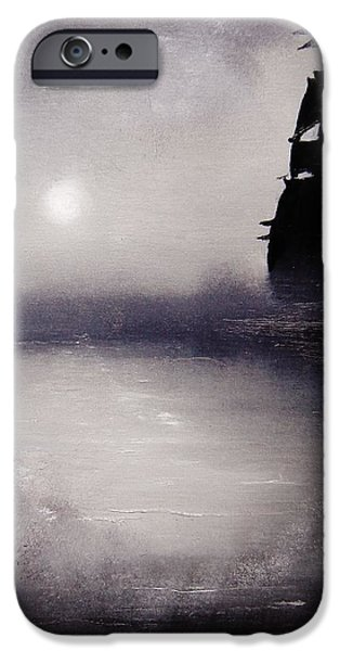 Pirate Ships Paintings iPhone Cases - Jolly Roger iPhone Case by Eugene Budden