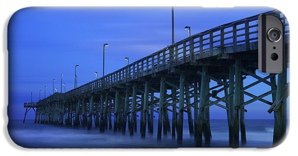 Pier Digital Art iPhone Cases - Jolly Roger Pier after Sunset iPhone Case by Mike McGlothlen