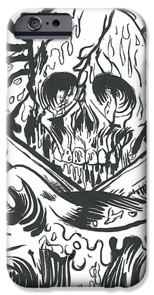 Pirate Ship Drawings iPhone Cases - Jolly Roger Rising iPhone Case by Nick Smithey