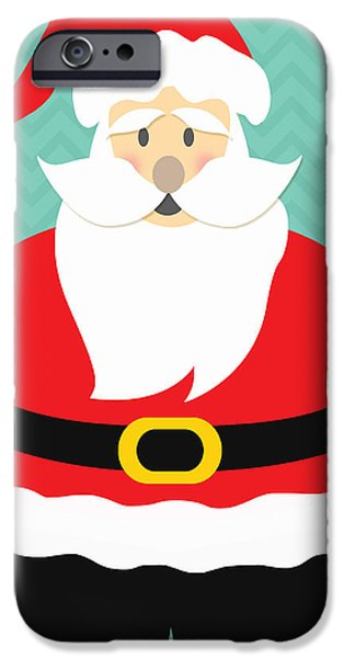 Christmas Mixed Media iPhone Cases - Jolly Santa Claus iPhone Case by Linda Woods
