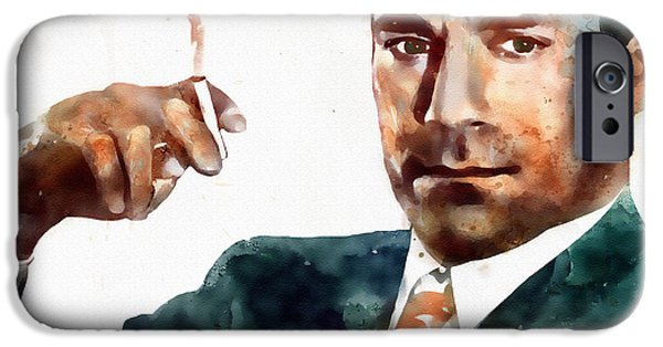Business Digital Art iPhone Cases - Jon Hamm as Don Draper watercolor portrait  iPhone Case by Marian Voicu