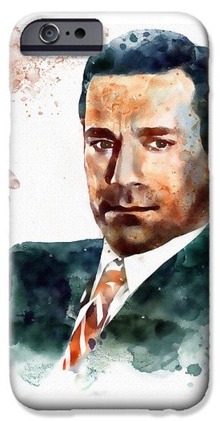 Watercolour Portrait iPhone Cases - Jon Hamm as Don Draper watercolor portrait  iPhone Case by Marian Voicu