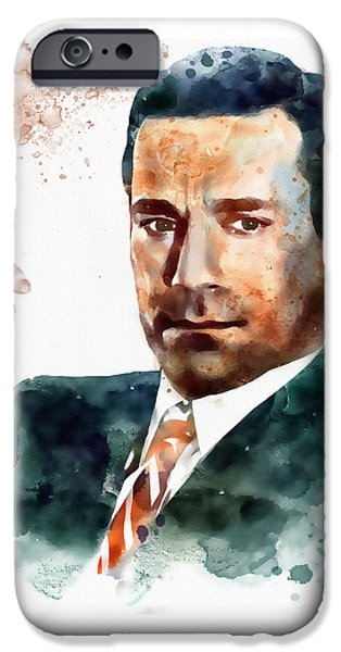 Mad iPhone Cases - Jon Hamm as Don Draper watercolor portrait  iPhone Case by Marian Voicu