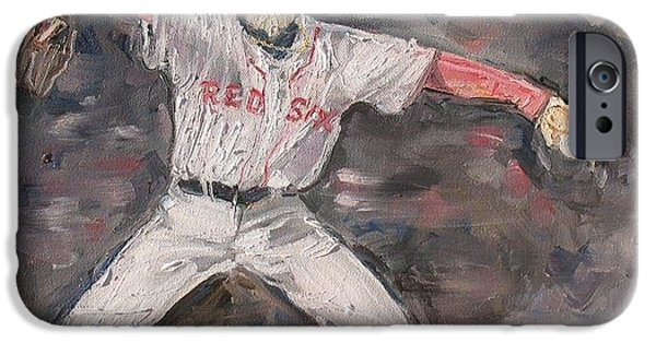 Red Sox Paintings iPhone Cases - Jon Lestor iPhone Case by Rosemary Kavanagh