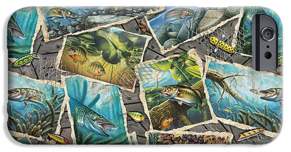 Musky Paintings iPhone Cases - Jon Q Wright Fish Paintings Pillow iPhone Case by Jon Q Wright
