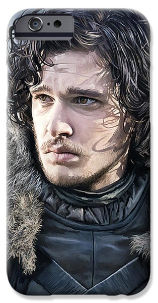 Snow iPhone Cases - Jon Snow - Game of Thrones Artwork iPhone Case by Sheraz A