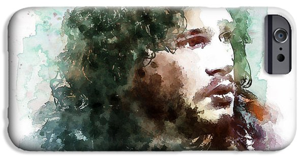 Marian iPhone Cases - Jon Snow watercolor iPhone Case by Marian Voicu