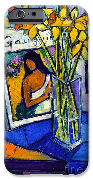 Leave iPhone Cases - Jonquils And Gauguin iPhone Case by Mona Edulesco