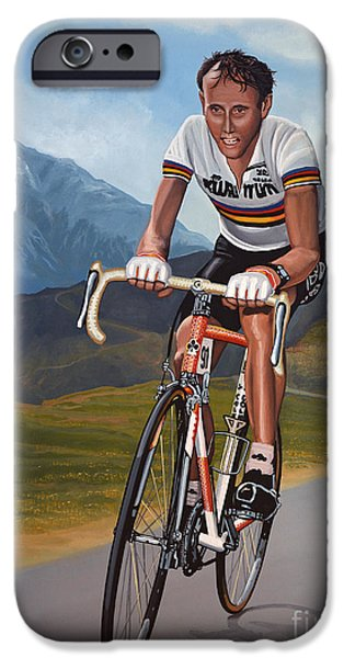 Celebrities Art Paintings iPhone Cases - Joop Zoetemelk iPhone Case by Paul  Meijering