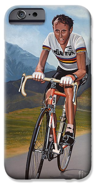 Summer Sports Paintings iPhone Cases - Joop Zoetemelk iPhone Case by Paul  Meijering