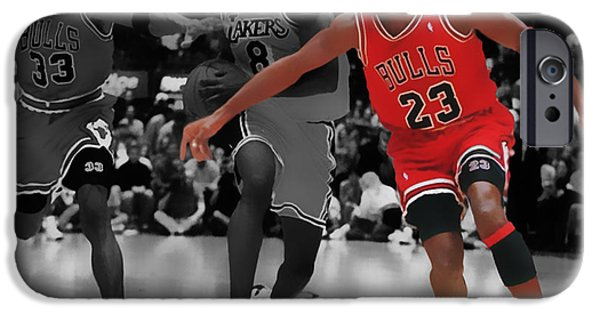 Pippen iPhone Cases - Jordan and Pippen Give me That iPhone Case by Brian Reaves