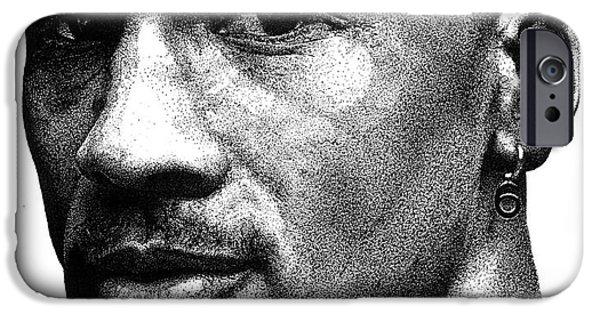 Michael Drawings iPhone Cases - Jordan Dots iPhone Case by Tamir Barkan