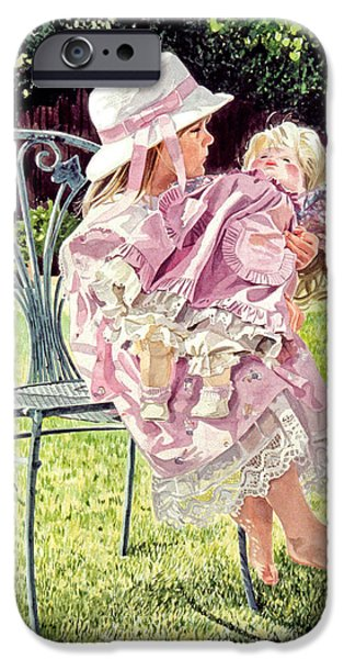 Young Paintings iPhone Cases - Jordan Foster - Garden Girl iPhone Case by David Lloyd Glover
