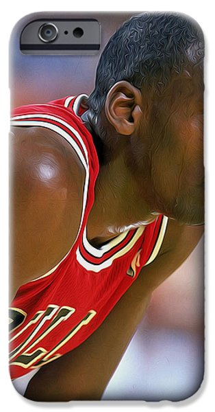Dr. J Paintings iPhone Cases - Jordan iPhone Case by Paint Splat