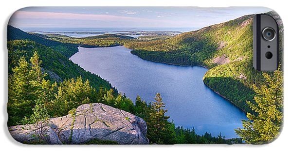 Park Scene iPhone Cases - Jordan Pond From The North Bubble iPhone Case by Panoramic Images