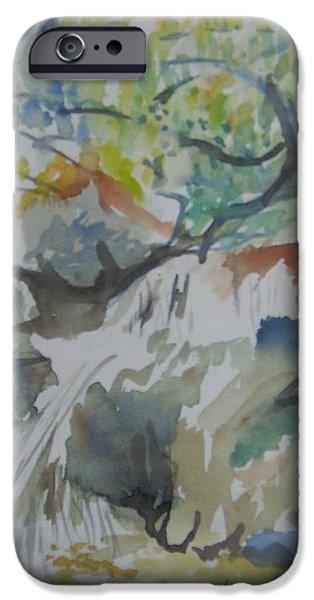River Jordan Paintings iPhone Cases - Jordan River Waterfall iPhone Case by Esther Newman-Cohen