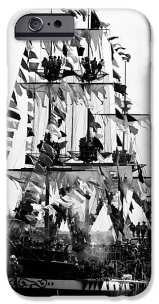 Pirate Ship iPhone Cases - Jose Gasparilla 2015 BW iPhone Case by David Lee Thompson