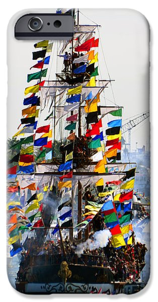 Tall Ship iPhone Cases - Jose Gasparilla Ship work A iPhone Case by David Lee Thompson