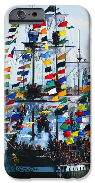 Tall Ship iPhone Cases - Jose Gasparilla Ship work B iPhone Case by David Lee Thompson