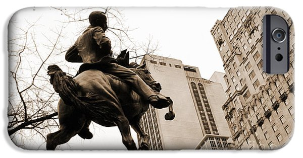 Freedom Party iPhone Cases - Jose Marti equestrian statue and the Ritz-Carlton vintage look iPhone Case by RicardMN Photography