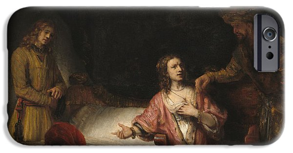 Slaves iPhone Cases - Joseph Accused by Potiphars Wife iPhone Case by Rembrandt