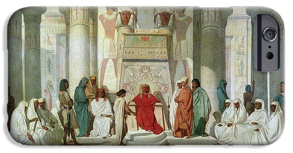 Egypt iPhone Cases - Joseph Explaining Pharaohs Dreams Oil On Canvas iPhone Case by Jean Adrien Guignet