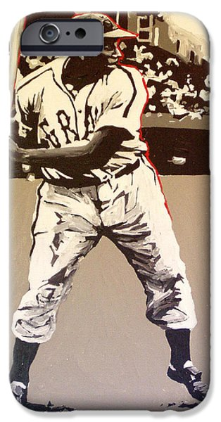 Negro Paintings iPhone Cases - Josh Gibson Homestead Grays iPhone Case by Paul Guyer
