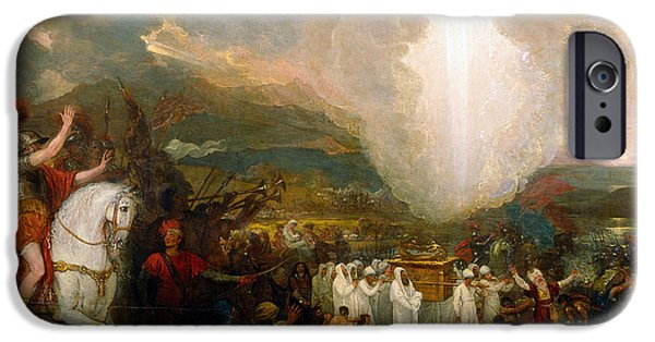 Jordan iPhone Cases - Joshua passing the River Jordan with the Ark of the Covenant iPhone Case by Benjamin West