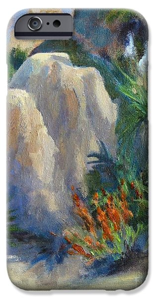 Park Scene Paintings iPhone Cases -  Joshua Tree in Spring iPhone Case by Maria Hunt