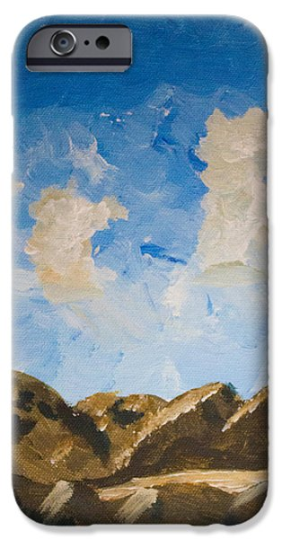 Turbulent Skies Paintings iPhone Cases - Joshua Tree National Park and Summer Clouds iPhone Case by Carolina Liechtenstein