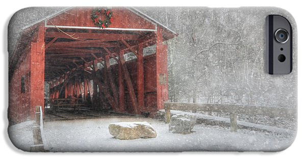 Christmas Holiday Scenery iPhone Cases - Josiah Hess Covered Bridge iPhone Case by Lori Deiter