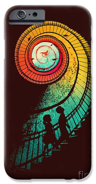 Staircase iPhone Cases - Journey of a thousand miles iPhone Case by Budi Kwan