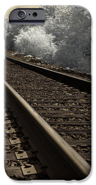 Surreal Landscape iPhone Cases - Journey on the Tracks iPhone Case by Luke Moore