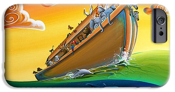 Noahs Ark Paintings iPhone Cases - Noahs Ark - Journey To New Beginnings iPhone Case by Cindy Thornton