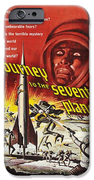 Science Fiction Drawings iPhone Cases - Journey To The Seventh Planet iPhone Case by MMG Archives