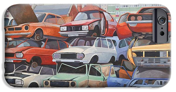 Junk Yard iPhone Cases - Journeys End Oil Oncanvas iPhone Case by Anna Teasdale