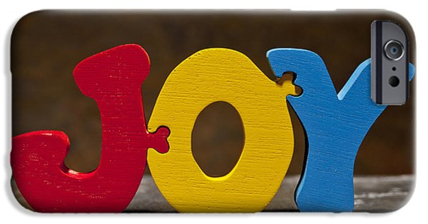Positive Attitude iPhone Cases - Joy Puzzle Painted Wood Letters iPhone Case by Donald  Erickson