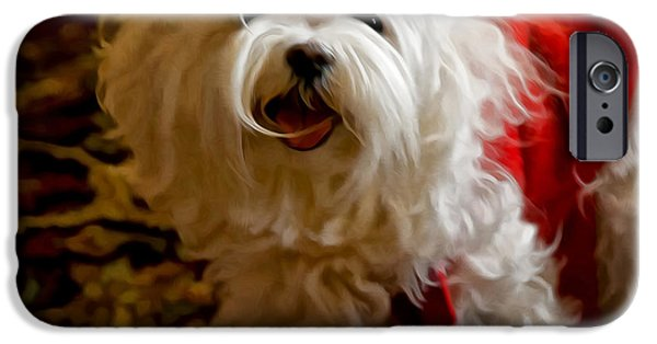 Puppy Digital Art iPhone Cases - Joy To The World iPhone Case by Lois Bryan