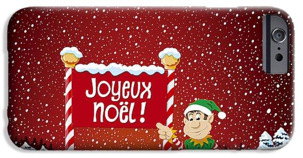 Xmas iPhone Cases - Joyeux Noel Sign Christmas Elf Winter Landscape iPhone Case by Frank Ramspott