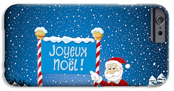 Santa iPhone Cases - Joyeux Noel Sign Santa Claus Winter Landscape iPhone Case by Frank Ramspott